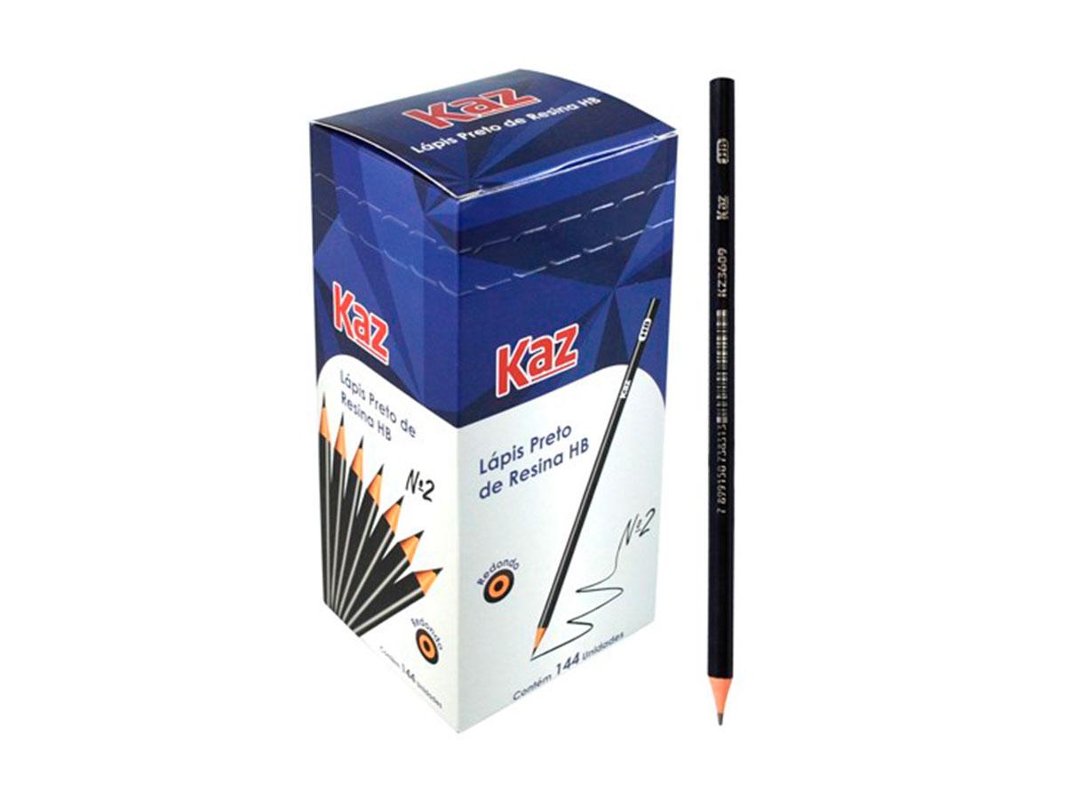 Lápis Preto de Resina HB Contém 144 Unidades Kaz - 708897