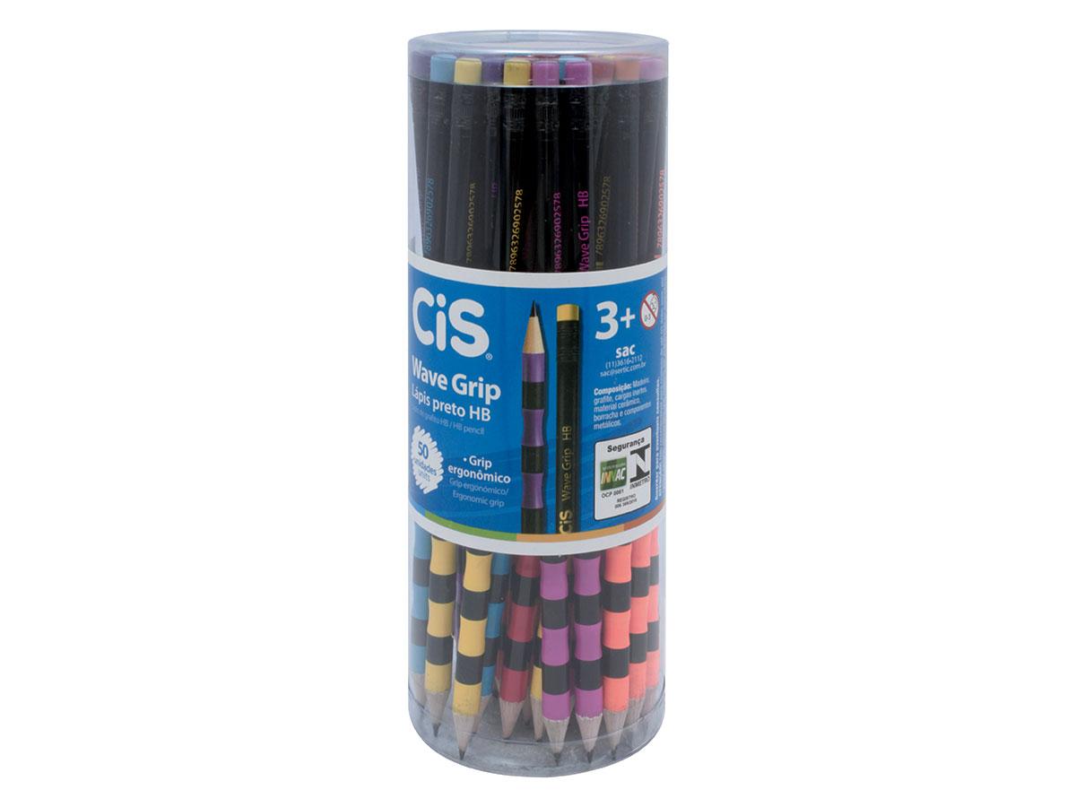 Lápis Preto HB Wave Grip Com Borracha, Pote Com 50 Unidades, Cis - 522400