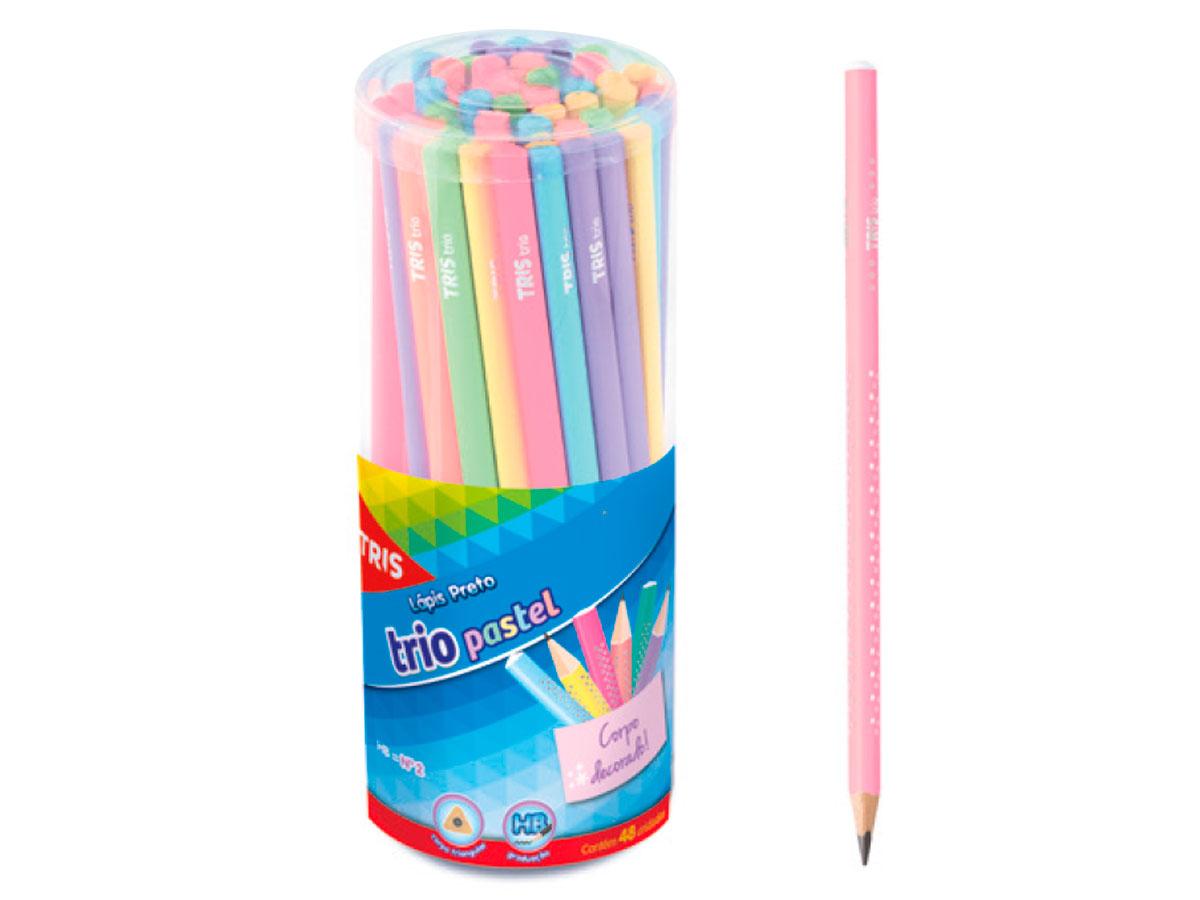 Lápis Preto Trio Pastel, Pote c/ 48 Unidades - Tris - 603384