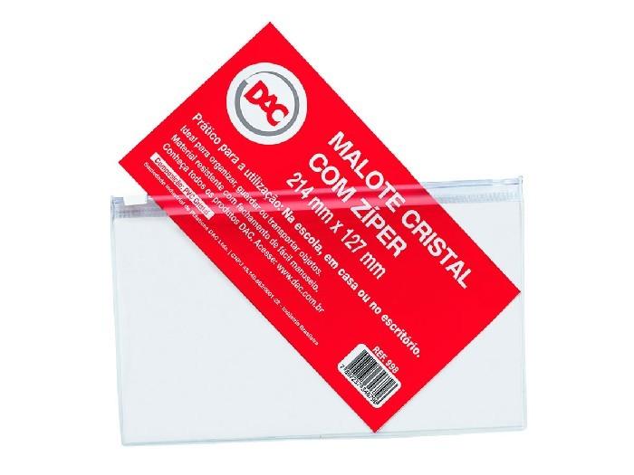 Malote Com Ziper Slide / PVC / 214 X 127 mm, Pacote C/ 5 Unidades, Dac - Cristal