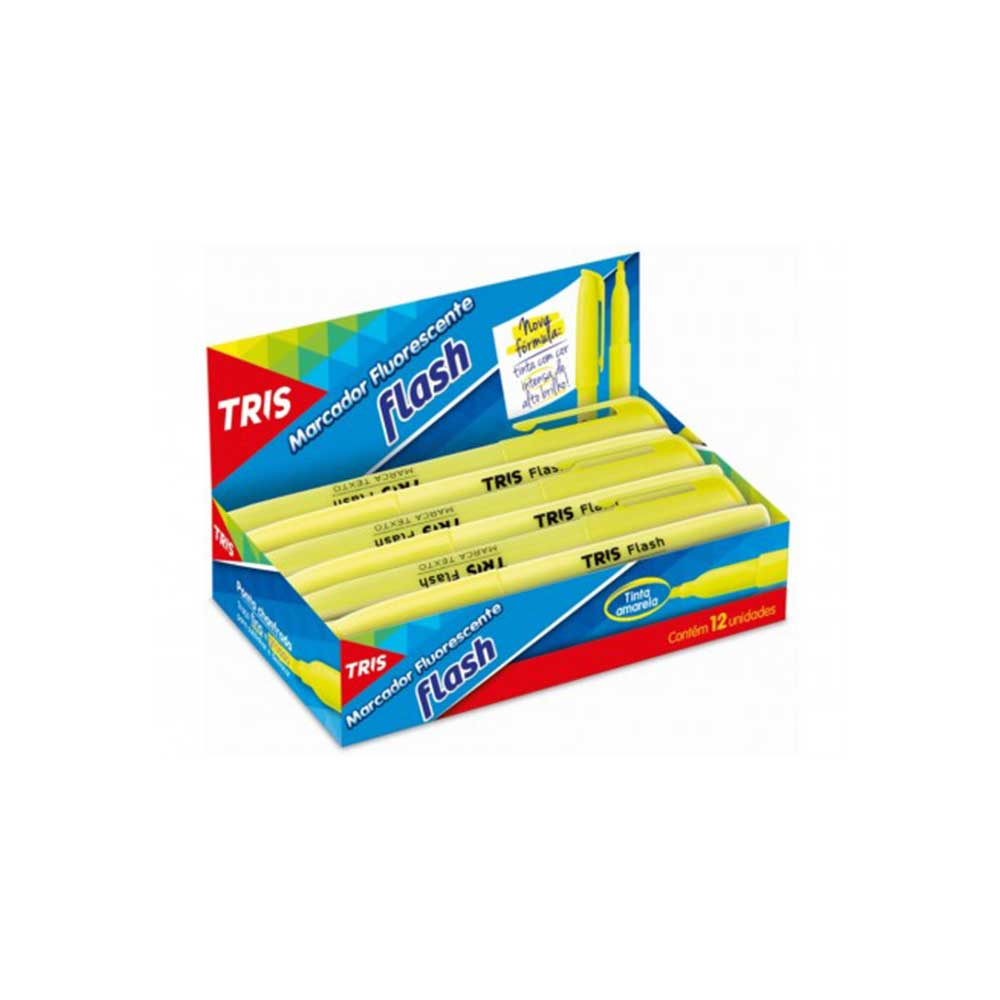 Marca Texto Fluor Flash Amarelo Caixa Display 12 Unidades Tris  - 625638