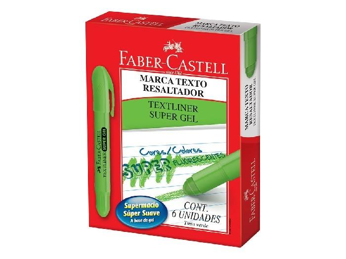Marca Texto Gel, Caixa C/ 6 Unidades, Faber Castell - Verde - 155763