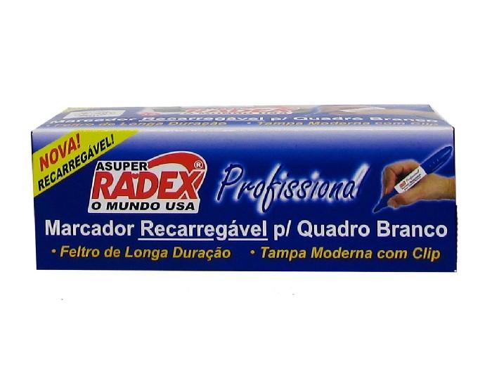 Marcador Recarregável para Quadro Branco Caixa Com 12 Unidades Radex - Azul - 565