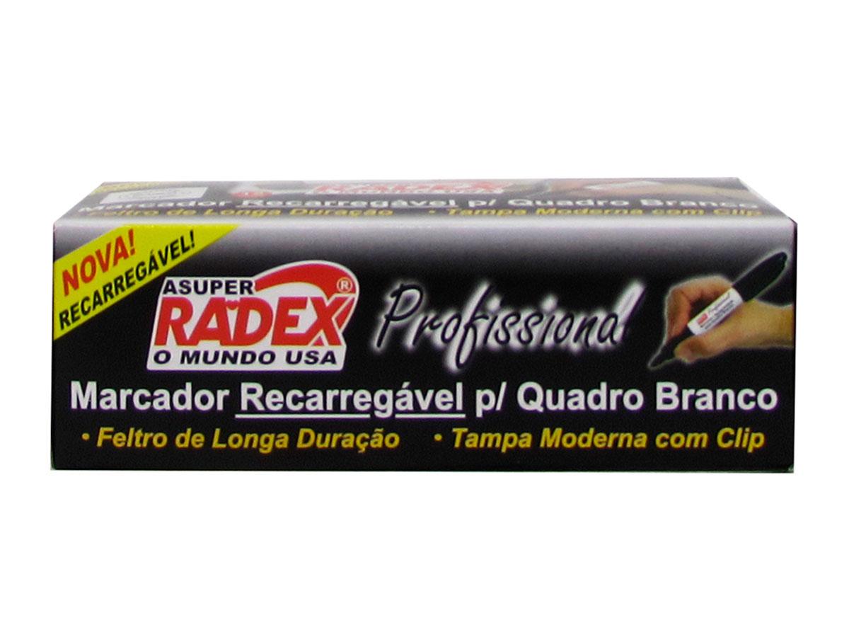 Marcador Recarregável para Quadro Branco Caixa Com 12 Unidades Radex - Preto - 566