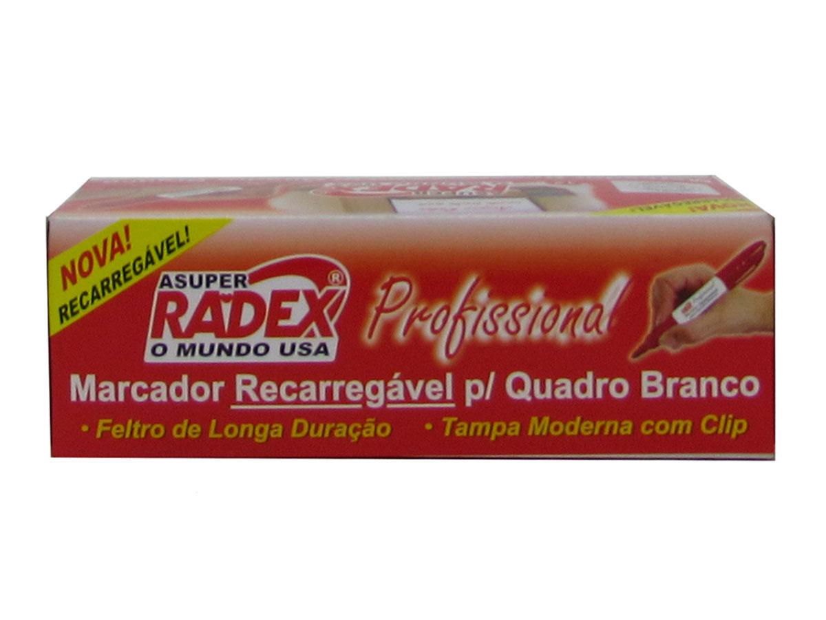 Marcador Recarregável para Quadro Branco Caixa Com 12 Unidades Radex - Vermelho - 568