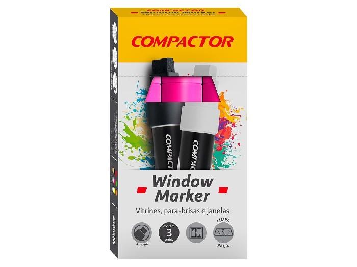 Marcador Window Rosa, Pacote C/ 3 Unidades, Compactor