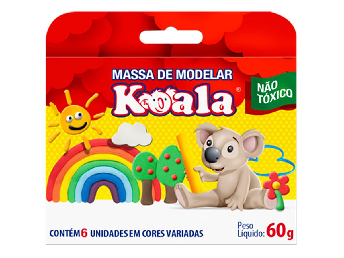 Massa de Modelar Koala,Caixa Com 06 Cores Sortidas, Pacote C/ 12 Caixinhas, Delta - 0028