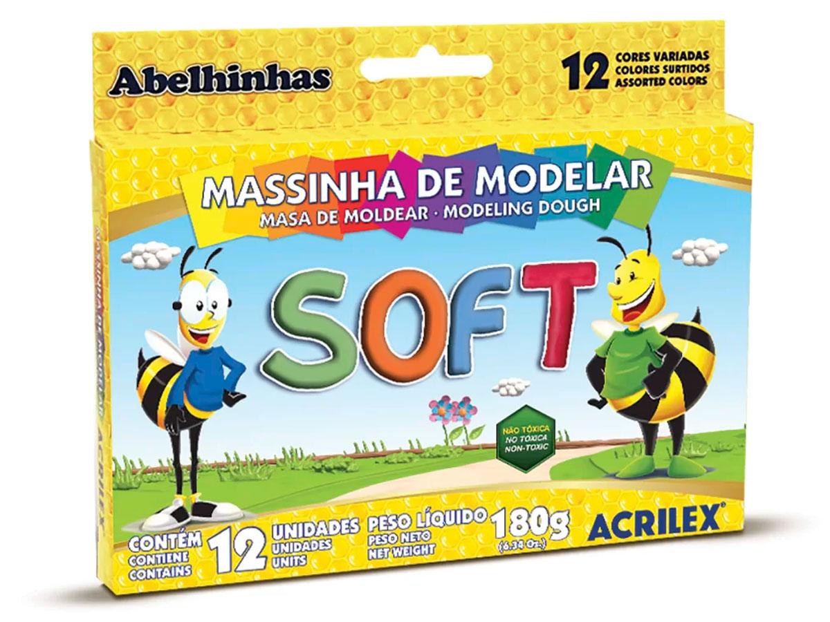 Massinha de Modelar Soft, 12 Cores, Pacote c/ 12 Unidades, Acrilex