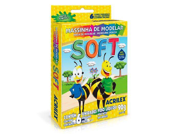 Massinha de Modelar Soft, 90g, 6 Un. C/ Cores Sortidas, Pacote C/ 12 Caixinhas - Acrilex - 073160000