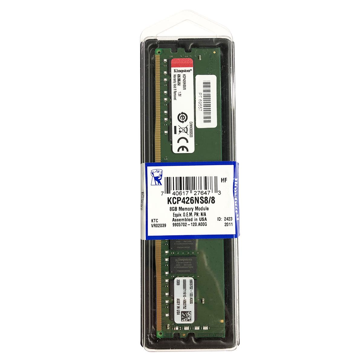 Memória 8GB Kingston DDR4 2666MHz CL19 - KCP426NS8/8