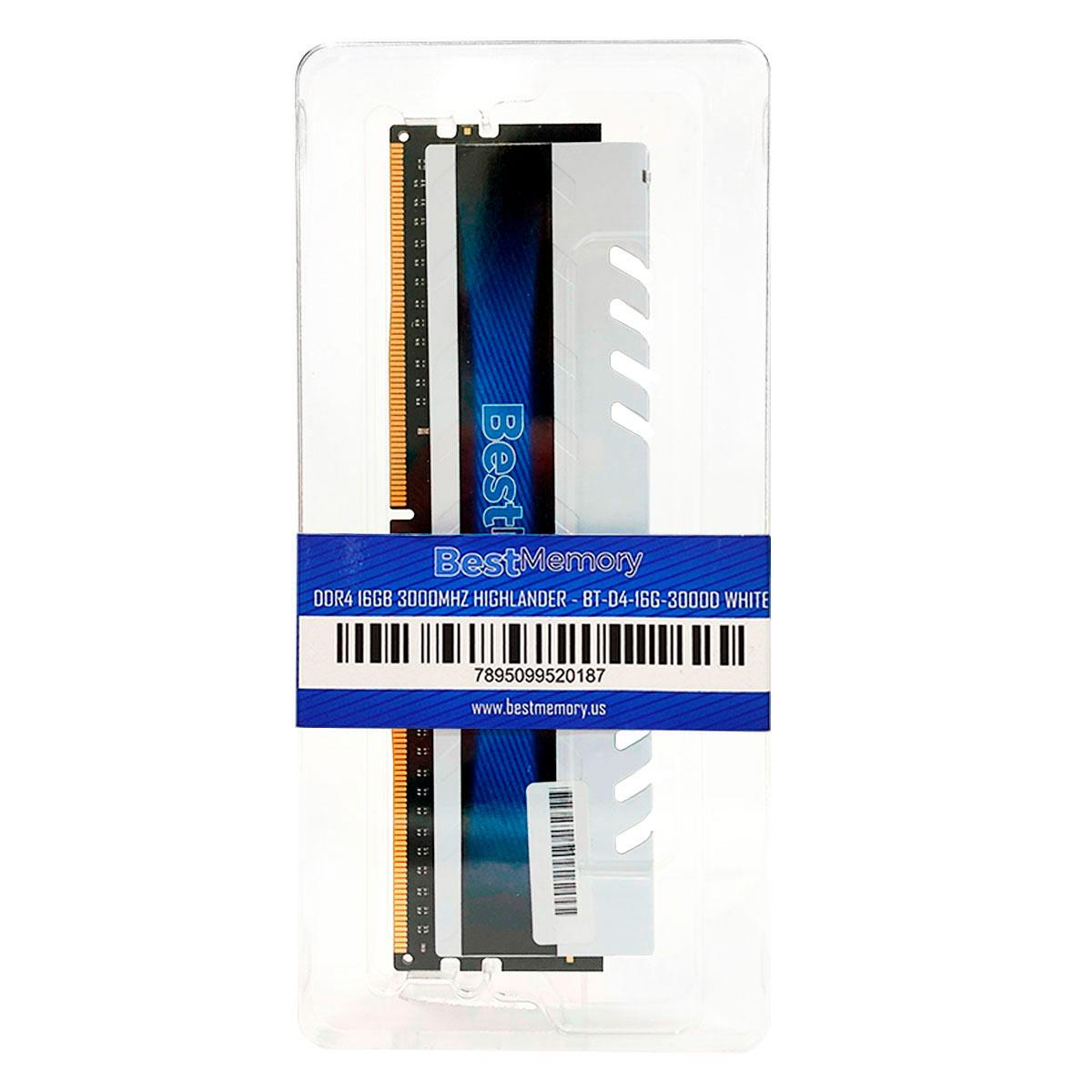 Memória Gamer 16GB Best Memory Highlander, DDR4, 3000MHz, CL15 - BT-04-16G-3000D White