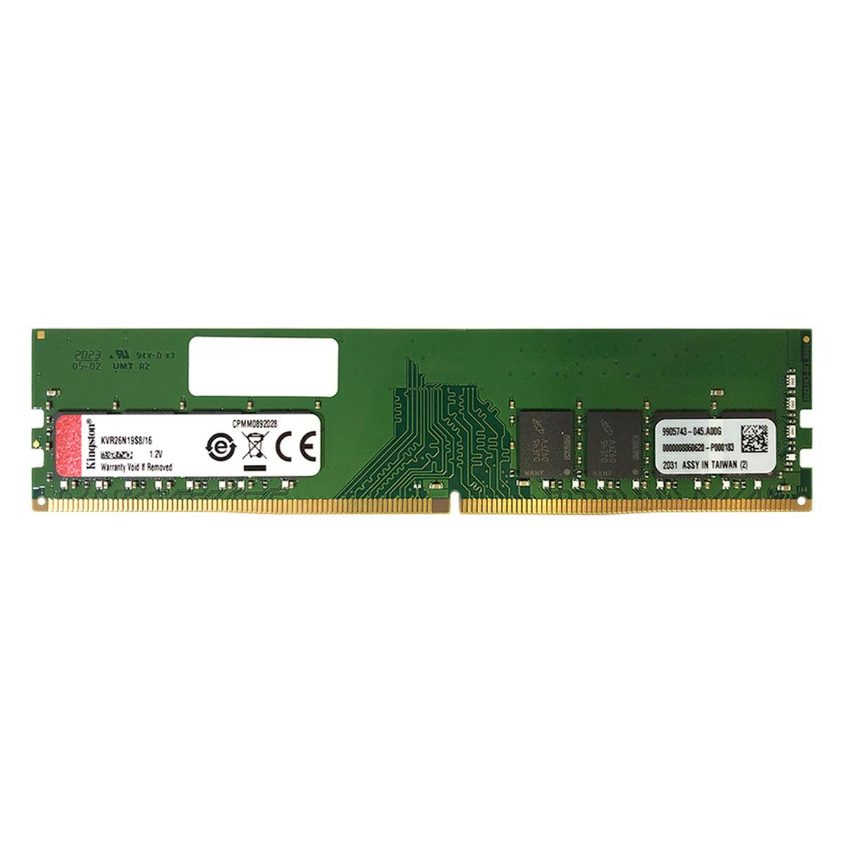 Memória Kingston 16GB, DDR4, 2666MHz, CL19 - KVR26N19S8/16