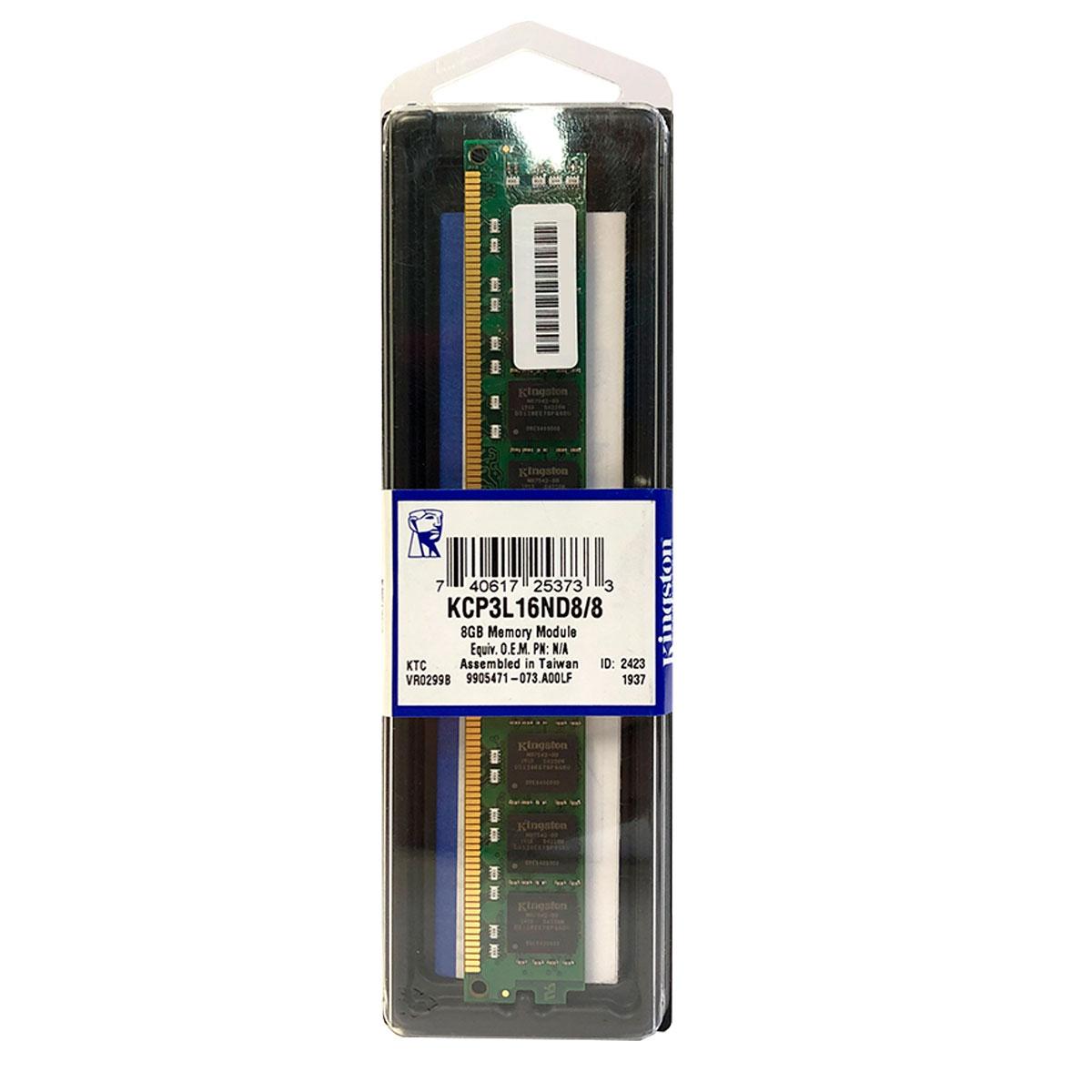 Memória Kingston 8GB, DDR3, 1600MHz, CL11 - KCP3L16ND8/8