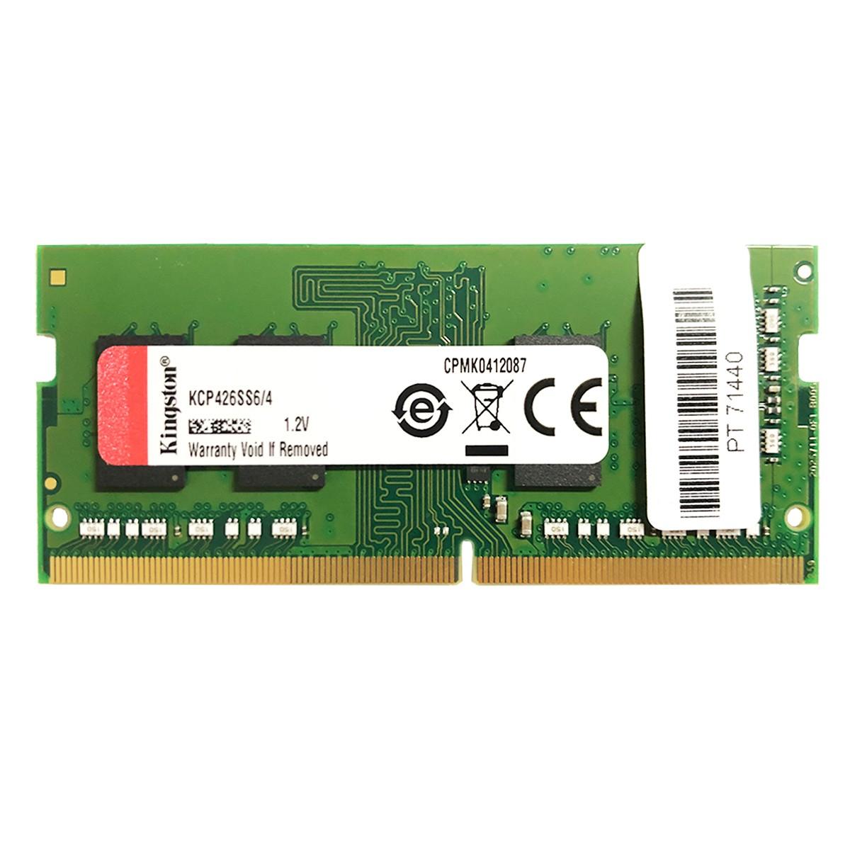 Memória para Notebook Kingston 4GB DDR4 2666MHz KCP426SS6/4