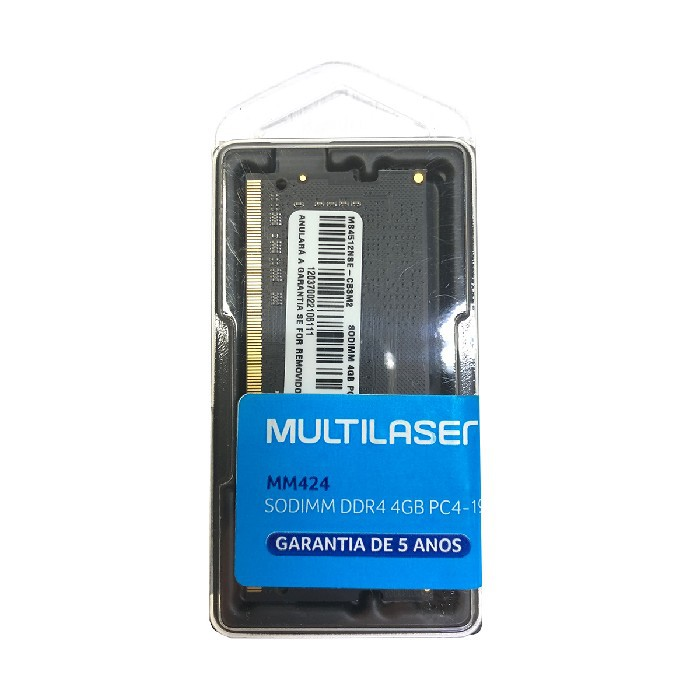 Memória para Notebook Multilaser MM424, 4GB, DDR4, 2400MHz, CL17