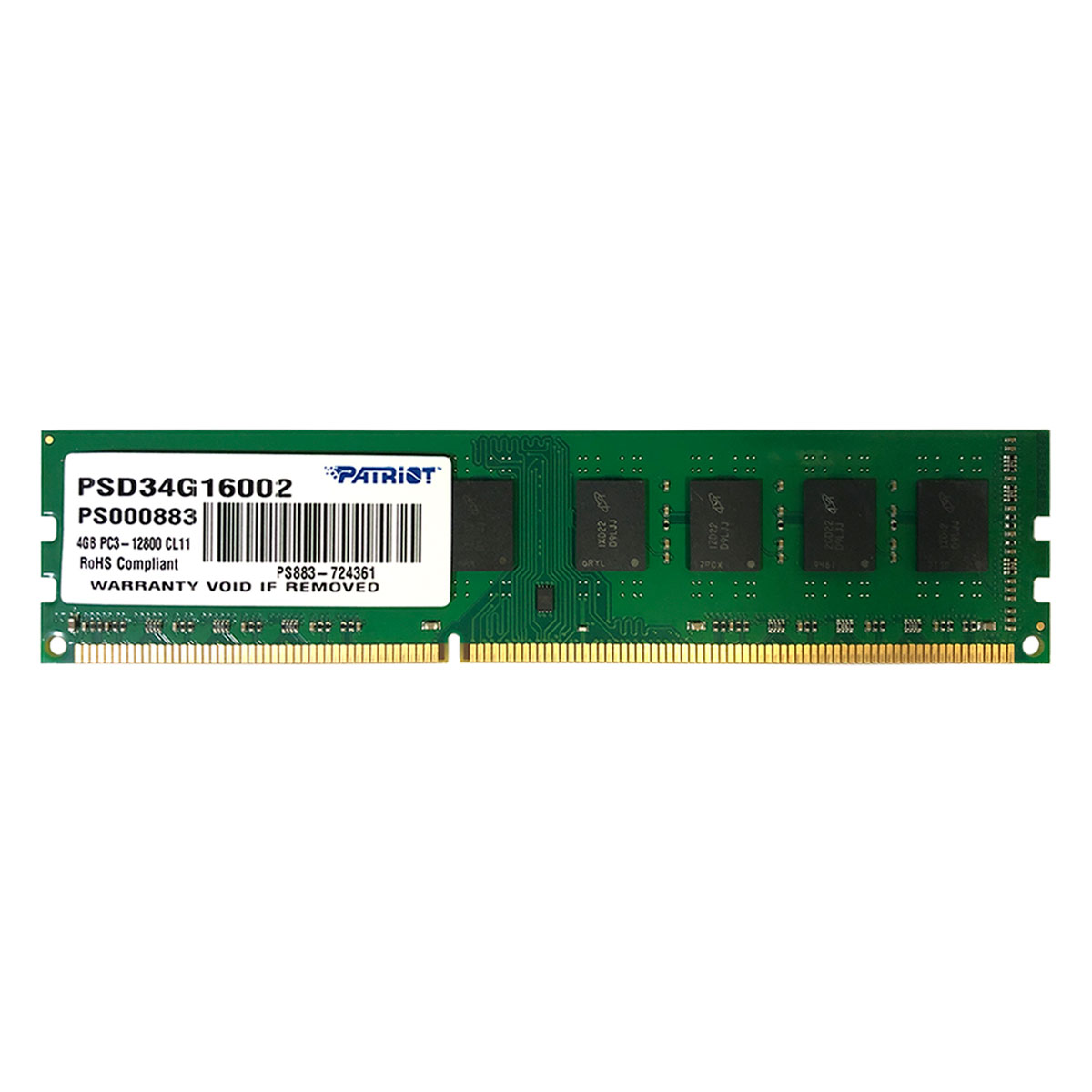 Memória Patriot Signature Line 4GB, DDR3, 1600MHz, CL11 - PSD34G16002-PS000883