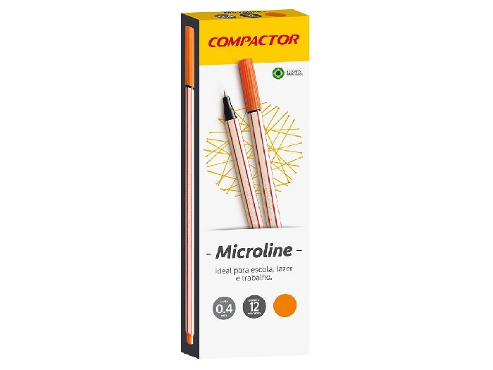 Microline 0.4 mm Laranja, Caixa C/ 12 Unidades, Compactor