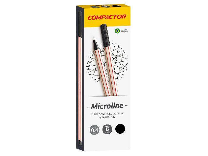 Microline 0.4 mm Preta, Caixa C/ 12 Unidades, Compactor