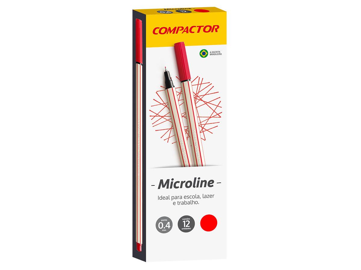Microline 0.4 mm Vermelha, Caixa C/ 12 Unidades, Compactor