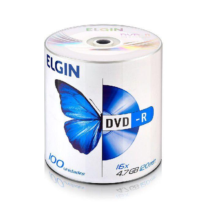 Mídia DVD-R 16X, 4.7GB / 120 Minutos, Contém 100 Unidades, Elgin - 82050