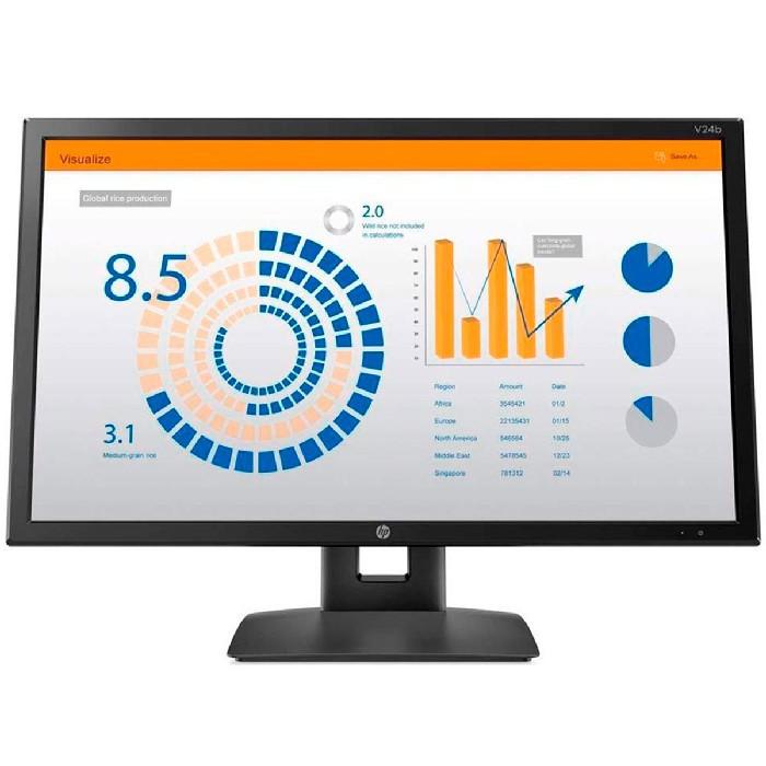 """Monitor HP V24b LED 23,6"""" Widescreen, Full HD, IPS,VGA, HDMI, Display Port, Ajuste de Altura 2XM34AA"""