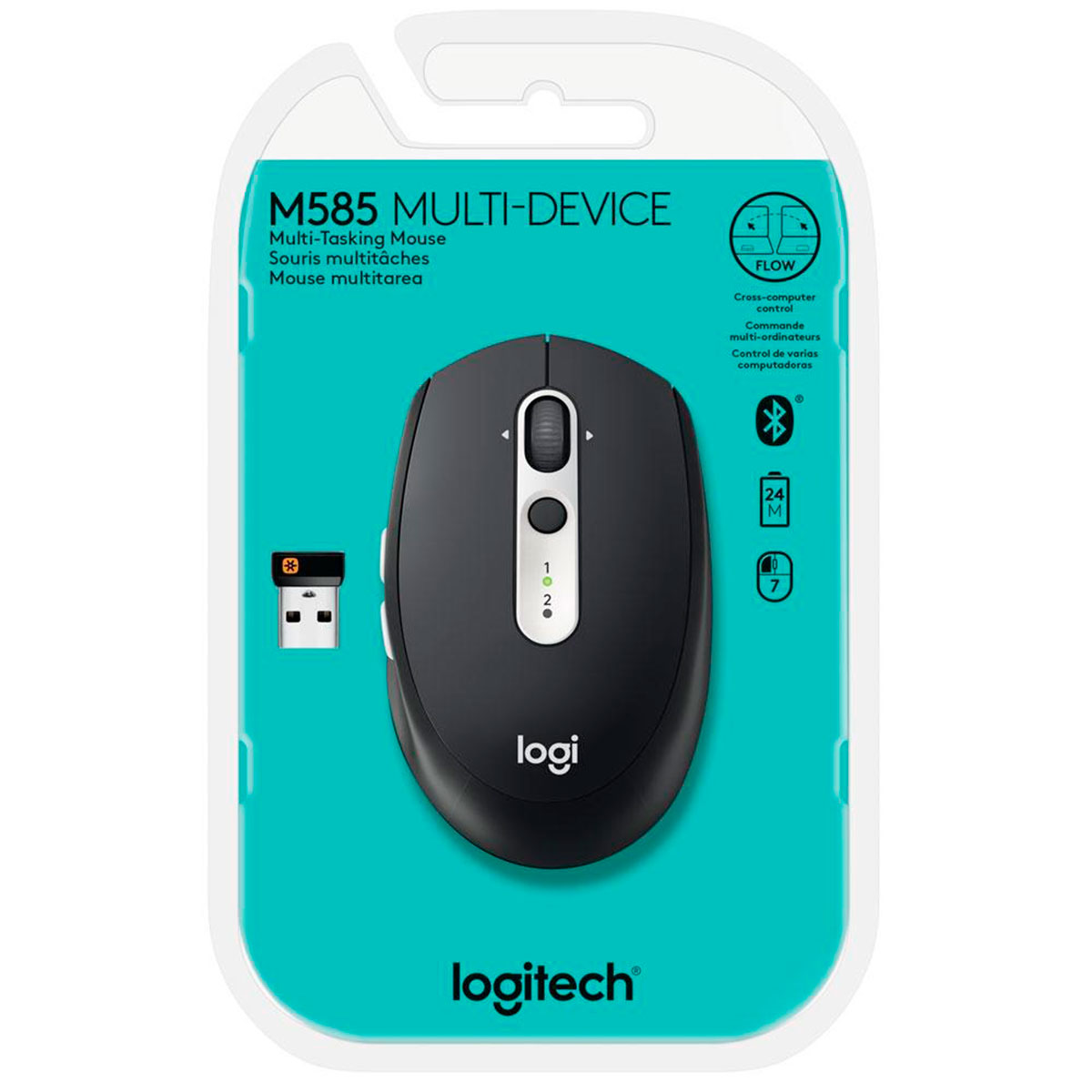 Mouse Bluethooth Logitech M585 Multi-Device, Tecnologia Flow Unifying, 1000DPI, Preto