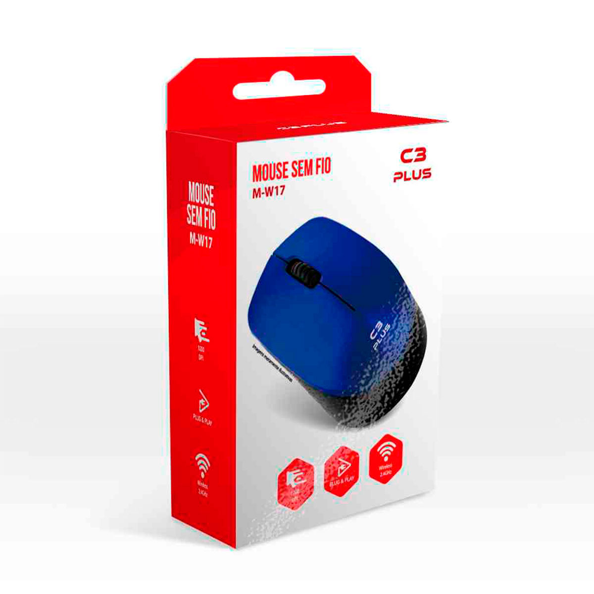 Mouse C3Tech C3Plus M-W17BL, Wireless, 1000 DPI, Azul