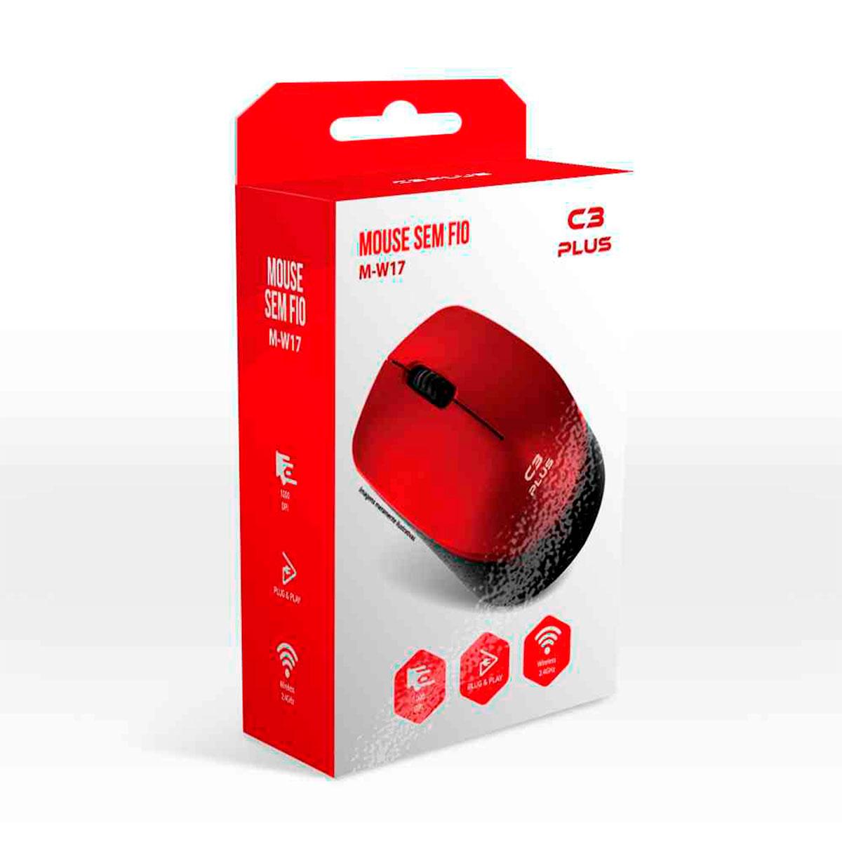 Mouse C3Tech C3Plus M-W17RD, Wireless, 1000 DPI, Vermelho