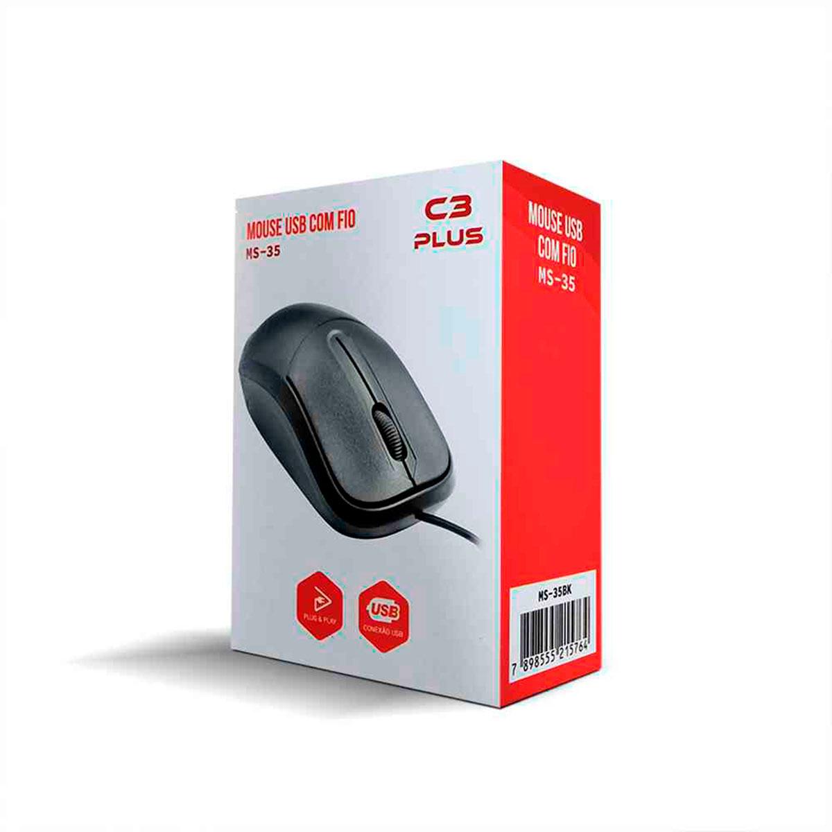 Mouse C3Tech C3Plus MS-35BK Padrão USB 1000 DPI Preto