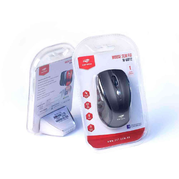 Mouse C3Tech M-W012BK, Wireless, 1600 DPI, Preto