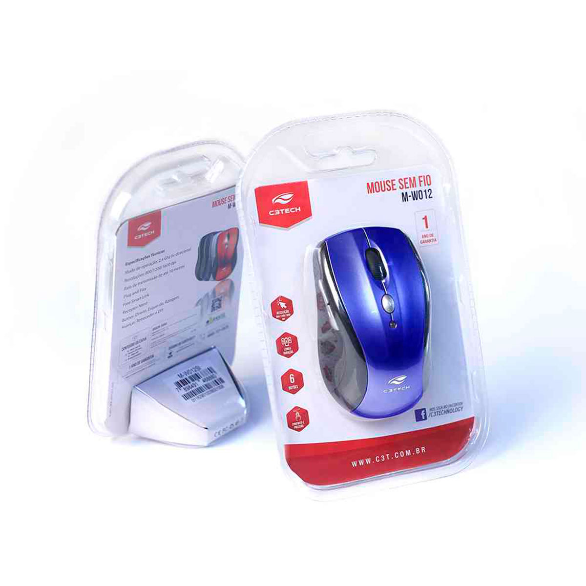 Mouse C3Tech M-W012BL, Wireless, 1600 DPI, 2.4GHz, Azul
