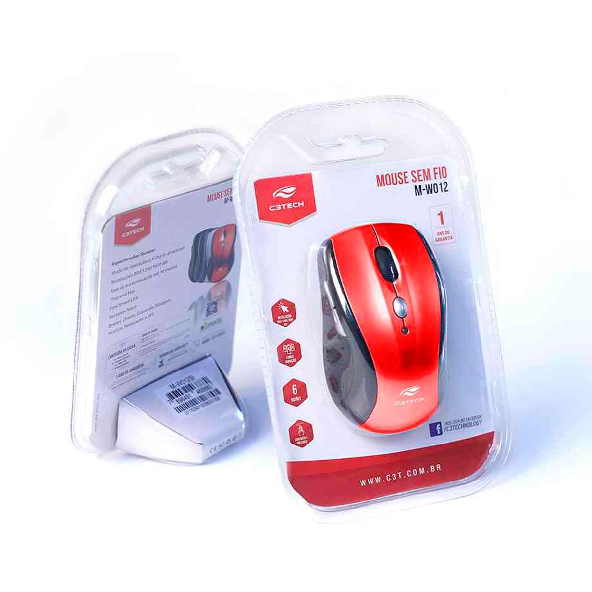 Mouse C3Tech M-W012RD V2, Wireless, Receptor Nano, 1600 DPI