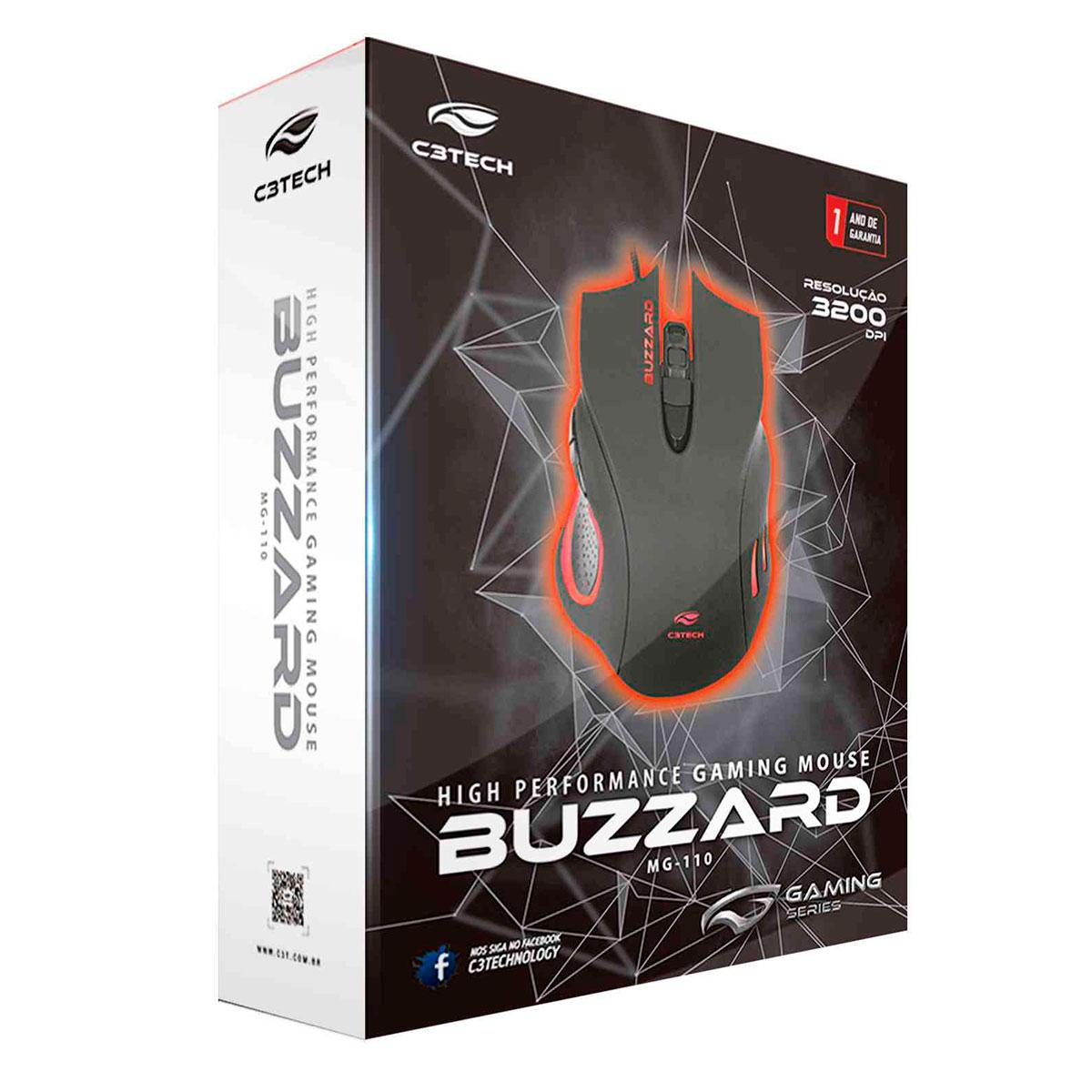 Mouse Gamer C3Tech Buzzard MG-110BK, USB, 3200DPI, LED, Preto