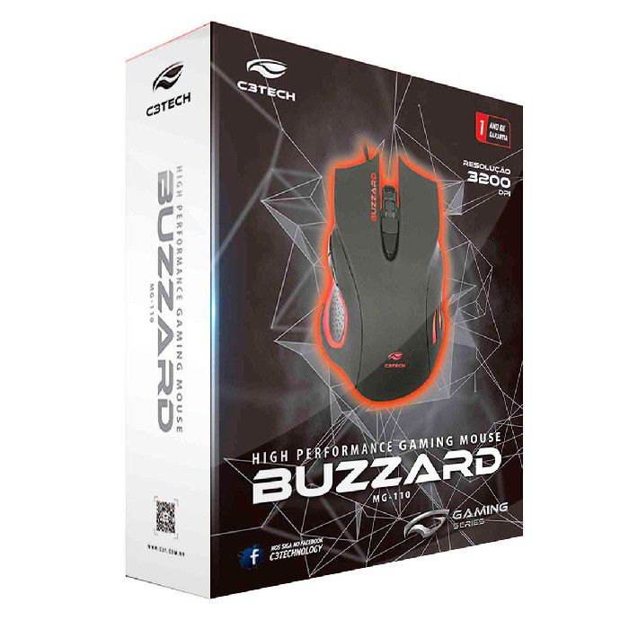 Mouse Gamer C3Tech Buzzard MG-110BK, USB, 3200DPI, LED, Preto