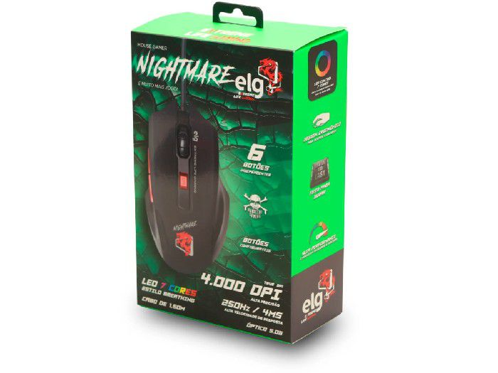 Mouse Gamer Elg NIGHT MARE 4000DPI - MGNM