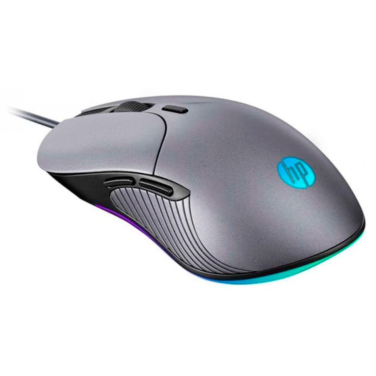 Mouse Gamer HP M280, USB, RGB, 2400DPI, Chumbo
