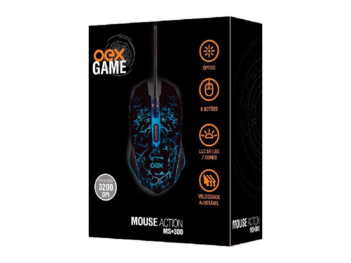 Mouse Gamer Oex Action 6 Botoes Luz de Led MS300