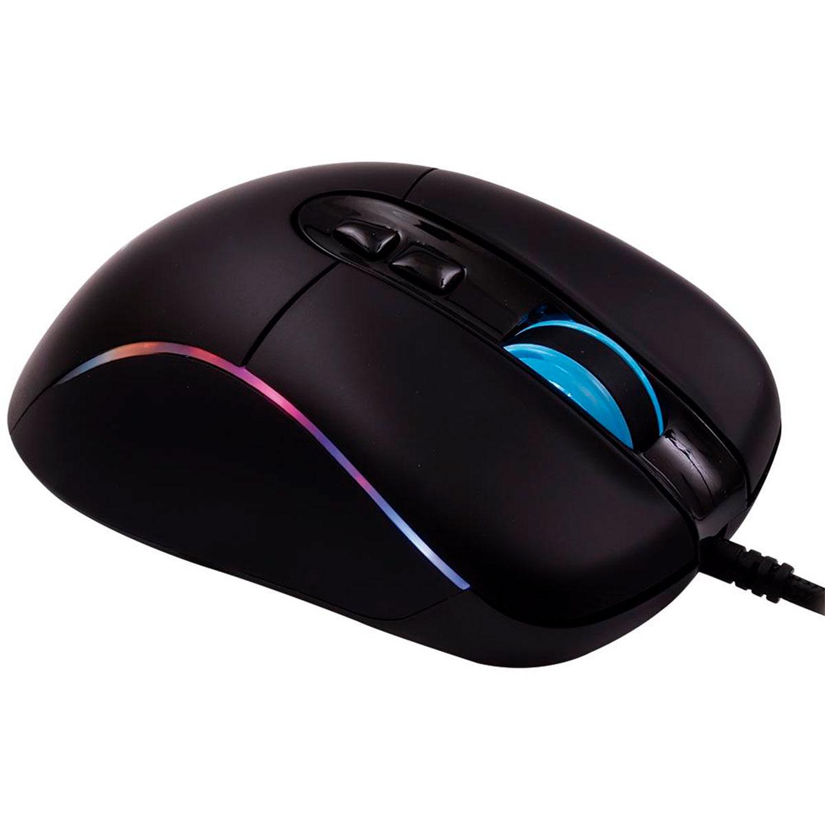 Mouse Gamer OEX Titan MS318, USB, 14400 DPI, LED RGB, 7 Botões, Sensor Pixart, Customizável, Preto