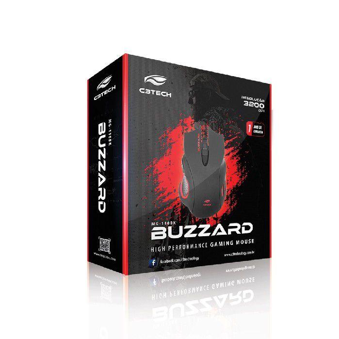 Mouse Gamer USB Buzzard MG-110BK C3Tech