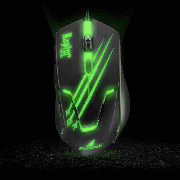 Mouse Gamer USB Raptor OM-801 Preto/Verde Fortrek