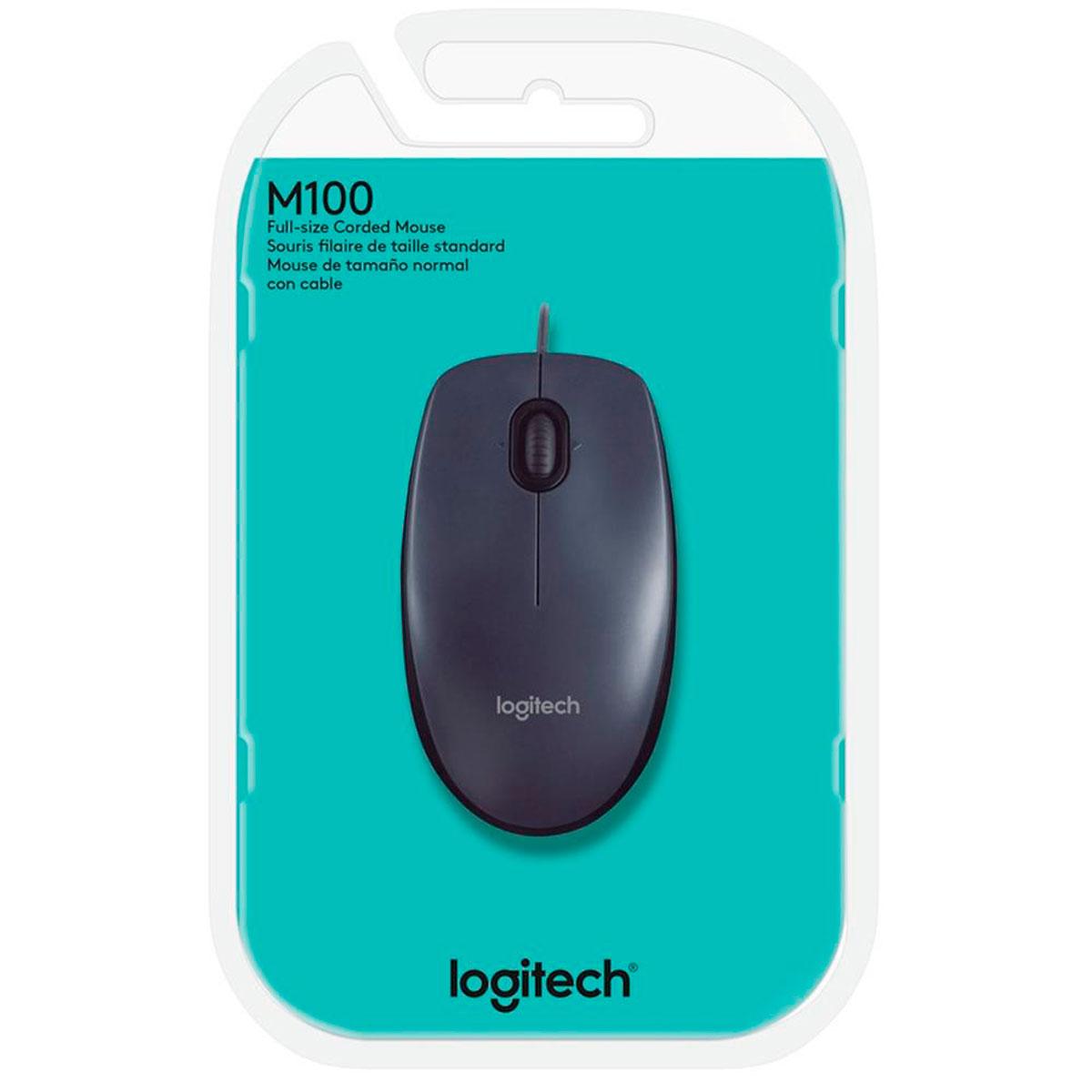 Mouse Logitech M100, USB, 1000DPI, Preto
