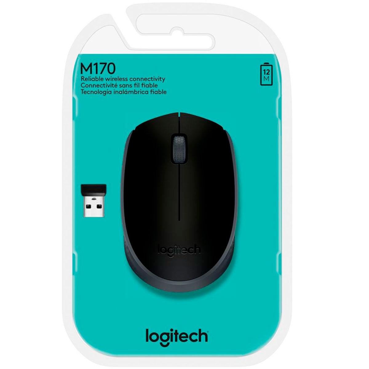 Mouse Logitech M170, Wireless, Preto