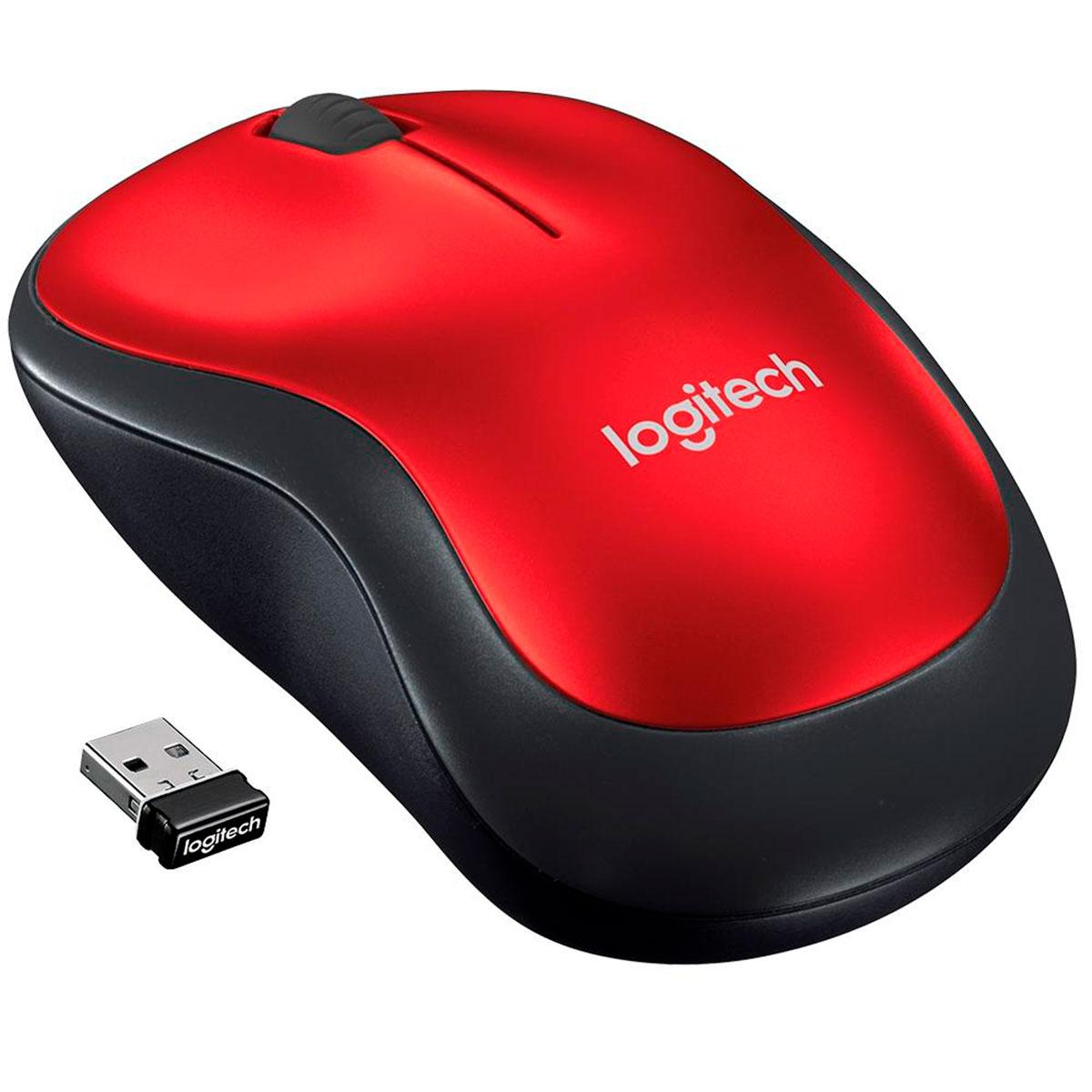 Mouse Logitech M185, Wireless, Vermelho, 1000DPI