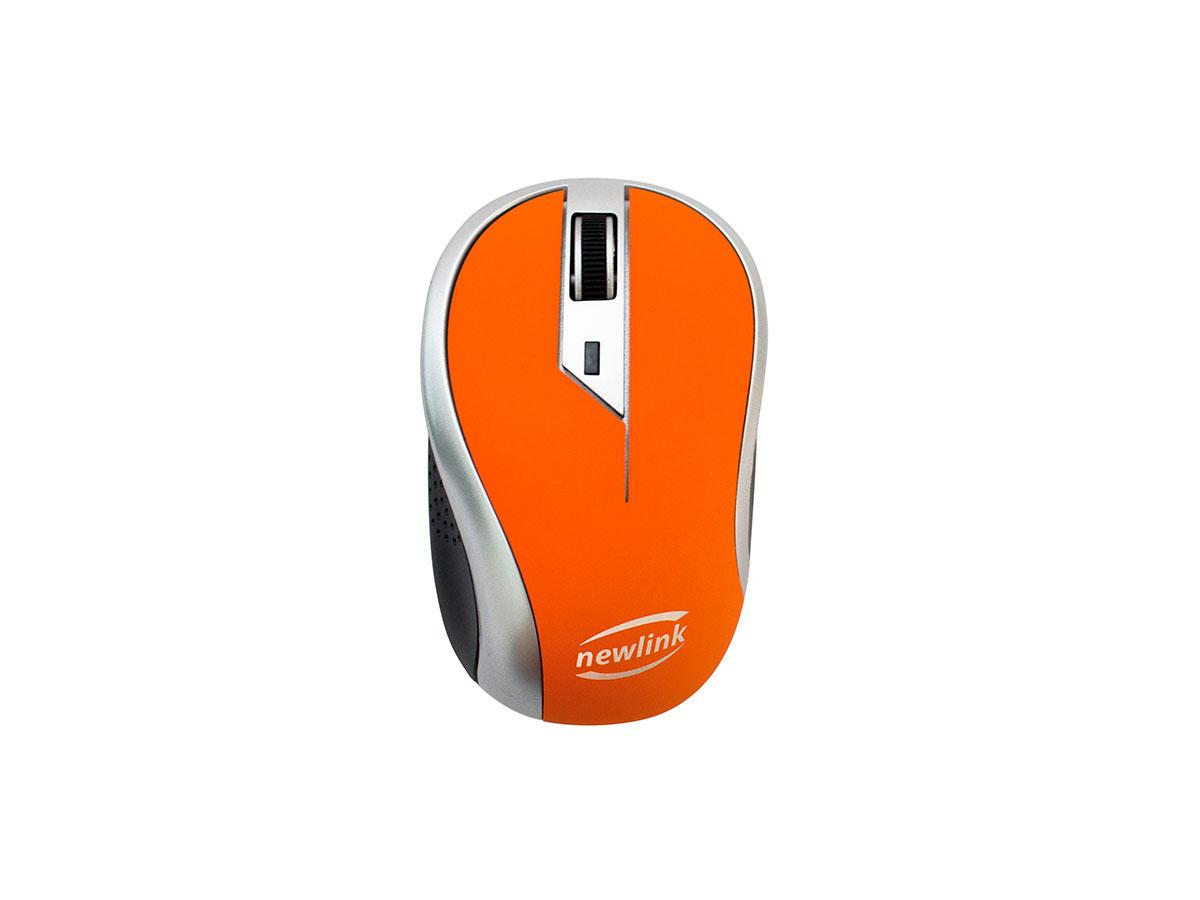 Mouse Newlink Wave MO112, Wireless, 1600DPI, Laranja e Cinza