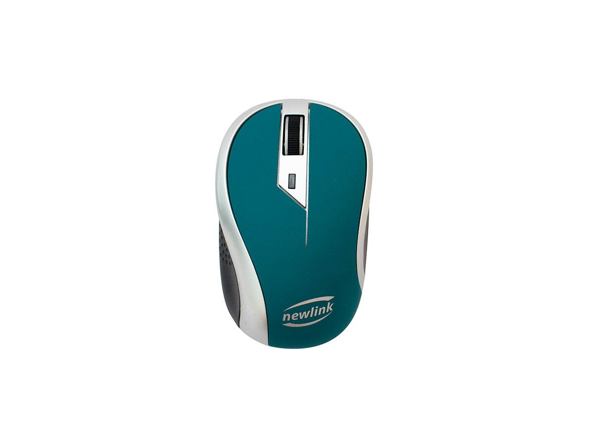 Mouse Newlink Wave MO113, Wireles, 1600DPI, Azul e Cinza