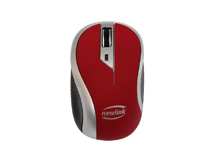 Mouse Newlink Wireless Wave Cinza/vermelho MO112