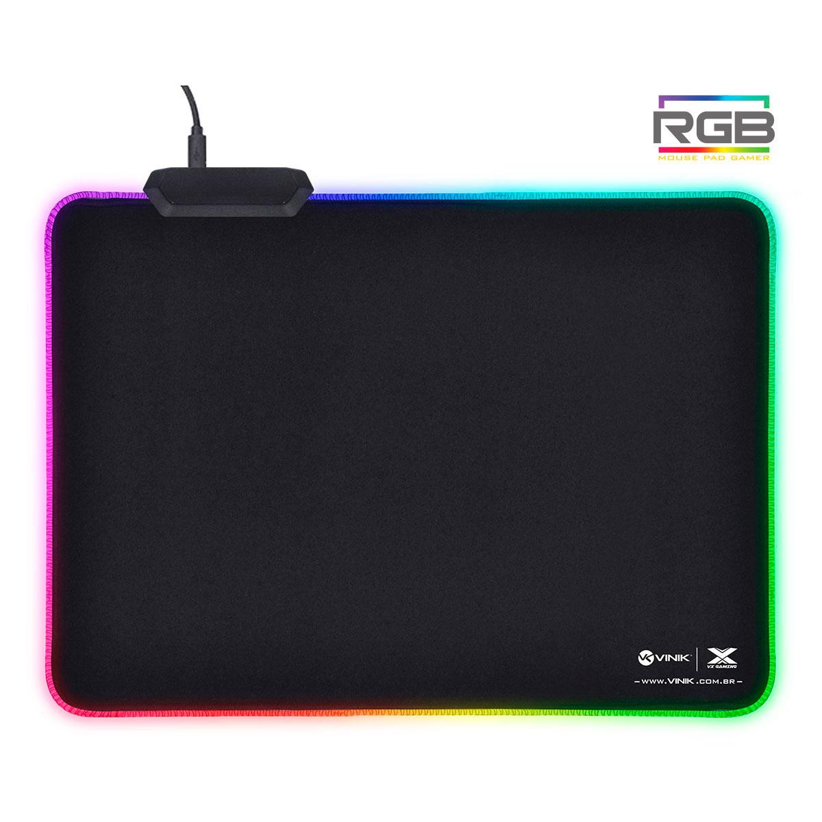 Mouse Pad Gamer Vinik VX Gaming RGB, Antiderrapante, 1 Porta USB, 250x350x3mm - 34684