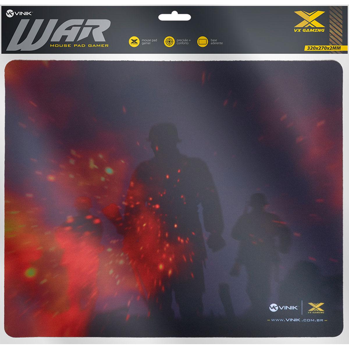 Mouse Pad Gamer Vinik VX Gaming War, C/ Base Emborrachada 320X270X2mm - 34246
