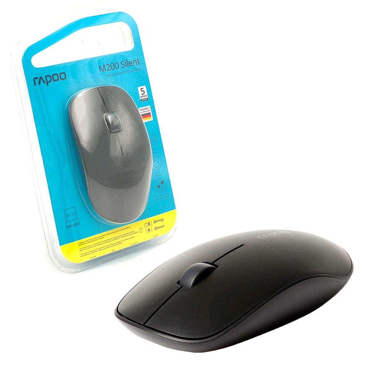 Mouse Rapoo M200 Silent, Wireless 2.4 GHz, Bluetooth, 1300 DPI, Clique Silencioso, Preto - RA011
