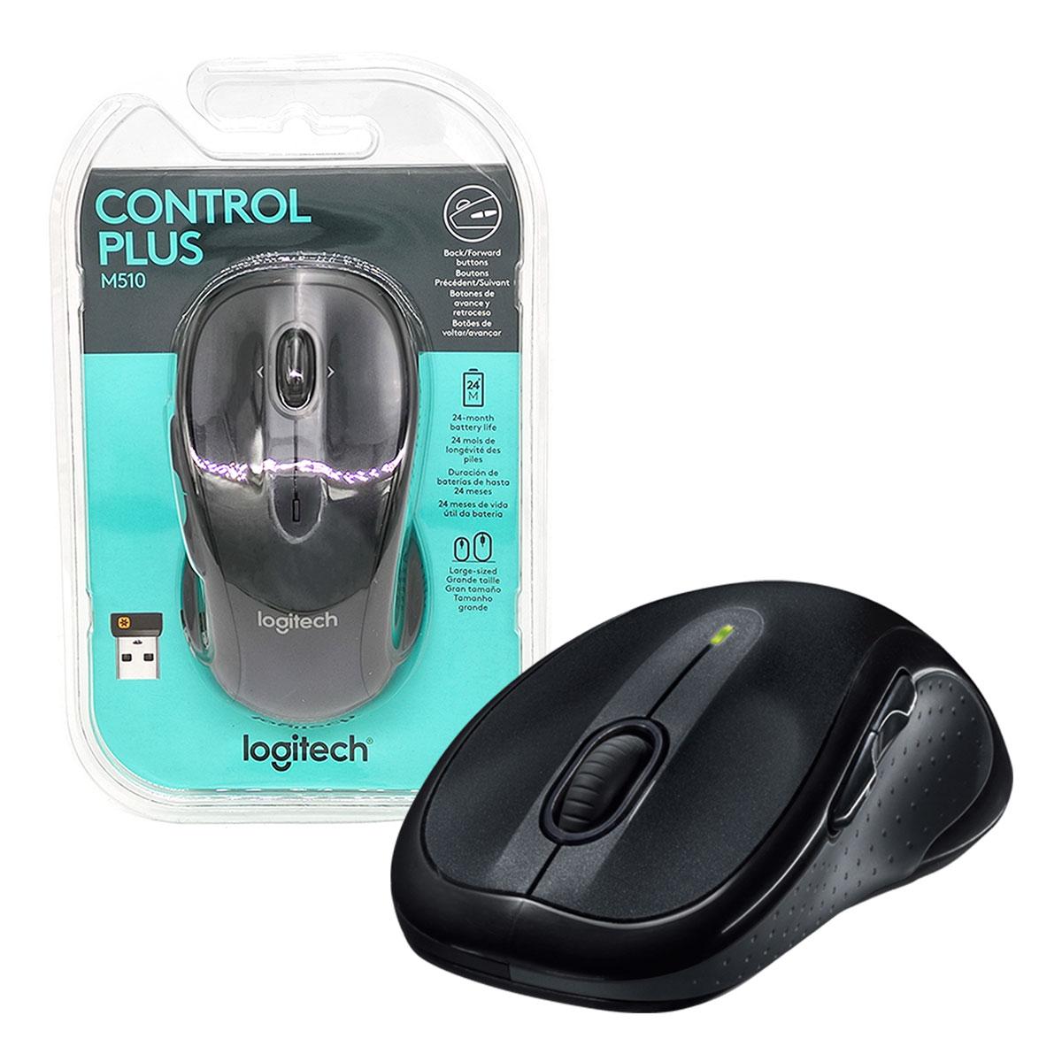 Mouse Wireless Logitech M510, 1000 DPI, Tecnologia Unifying, Preto